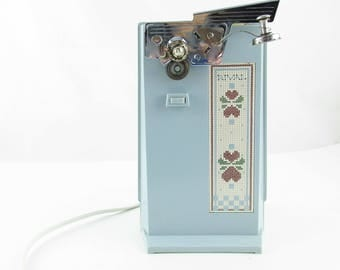 Powder Blue Electric Can Opener - 1960s  'Rival' Standing Can Opener - Powder Blue With Faux Needlepoint Decoration - Cord Storage