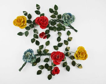 Wall Art - Two Branches of Red, Blue and Gold Flowers - Painted Metal Flowers and Leaves - Classic '50s Decor - 3-Dimensional - Lightweight