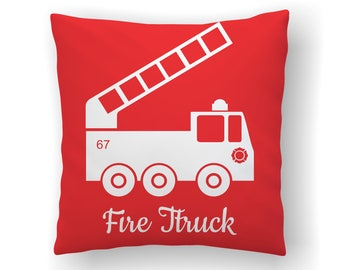 Fireman Decor Throw Pillow Covers, Fire Truck, Fire Engine, Firefighter Nursery, Little Boys Room, Kids Bedroom, Fire Fighter, Cushion Cover