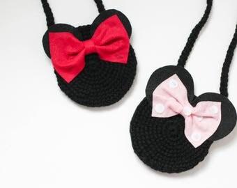 Minnie inspired purse/ Minnie gift/ Girls purse/ Little girls gift/ Crocheted purse/ Bow purse/
