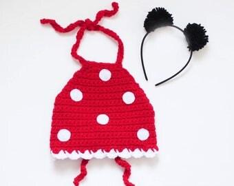 Minnie inspired crop top/ polka dot crop top/ pom pom ears/ girls crop top/