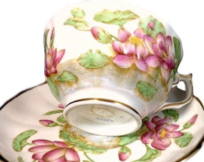 Royal Chelsea Vintage Bone China Teacup Saucer Set, Hand Painted Water Lily Cup, Gift For Her, Bridal Shower, England