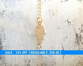 Hamsa anklet, anklet, gold anklet, gold hamsa, hamsa jewelry, delicate anklet, hamsa, luck jewelry, small bracelet, anklet 113-1