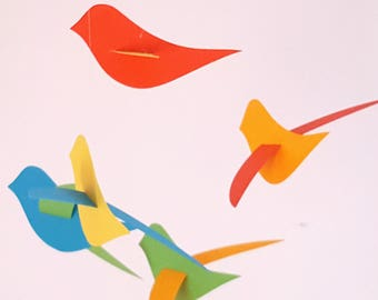 """Birds"" paper mobile multicolors"
