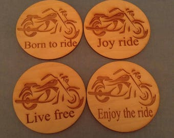 Motorcycle inspired set of 4 wooden coasters