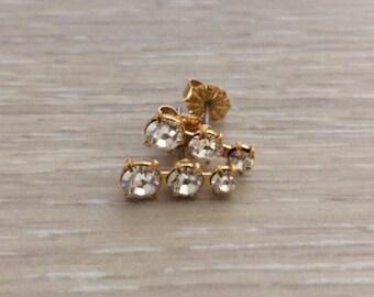 Rhinestone Stud Earring, Gold Earring, Post Earring, Bar Earring