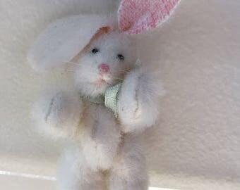Dollhouse Miniature White Bunny Rabbit with Blue Bow 1992 (JL)