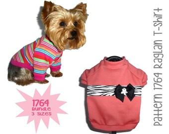 Dog Tee Shirt Pattern 1764 * Bundle 3 Sizes * Dog Clothes Sewing Pattern * Dog T Shirt * Dog Shirt Pattern * Dog Apparel * Dog Clothing