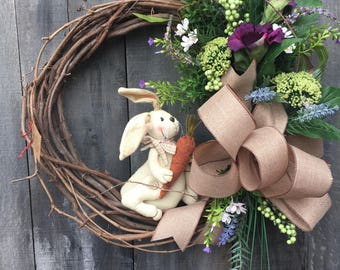 Spring grapevine wreath with bunny
