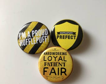 Hufflepuff House, Harry Potter Pins, Harry Potter Buttons, Hogwarts House Badges, Proud Hufflepuff, Hufflepuff Prefect, Stocking Stuffers