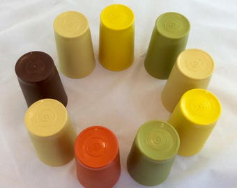 Tupperware Tumblers x 9, Orange Green Yellow Tupperware Tumblers