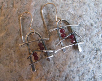 Natural Rubys and Sterling Silver Handmade/Hand Forged Dangle Earrings OOAK Rubys Ruby July Birthstone Jewelry Toniraecreations