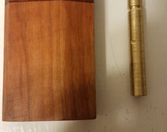"""Beautiful Handmade Cherry Wood Dugout Box With Composite Inlay and Spring Loaded Handmade Brass Pipe One Hitter Dugout 3"""" Tall Box C"""