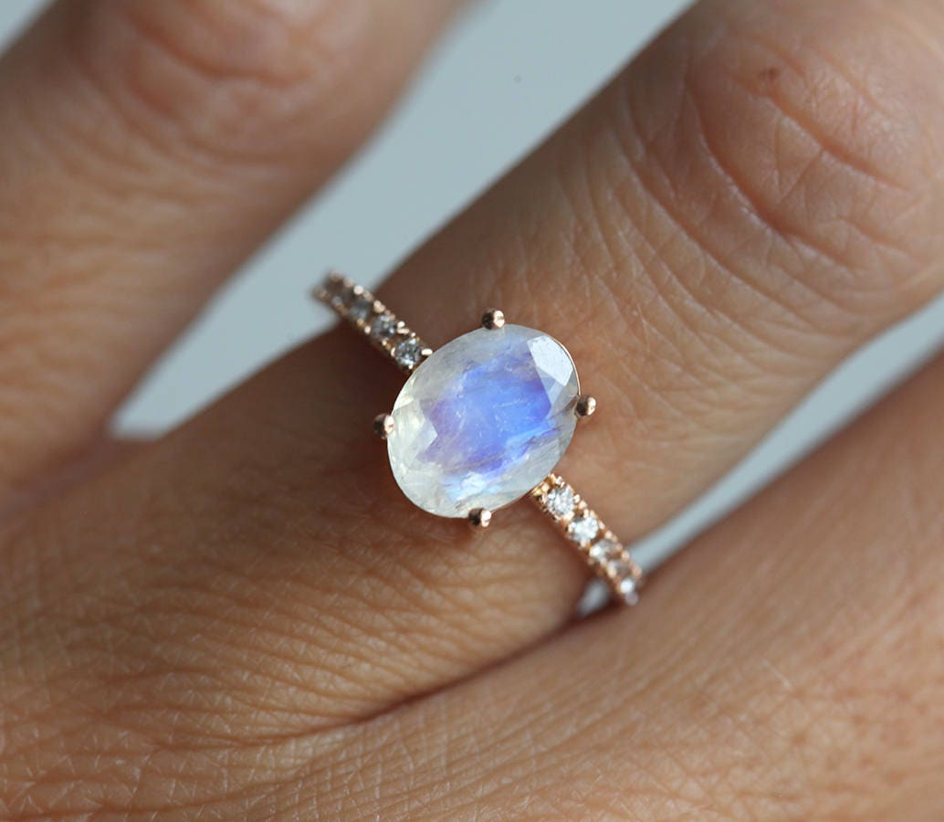 moonstone engagement ring gold moonstone wedding ring diamond moonstone wedding ring rose gold - Moonstone Wedding Ring