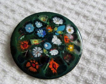 Vintage Pin, Large Cooper & Enamel Brooch, 2 Inch Diameter, Expertly Hand Crafted, Green with Multi Colored Flowers ~BreezyTownship.etsy.com