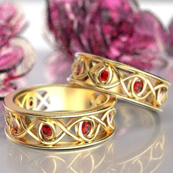 Celtic Ruby Wedding Band Set With Infinity Knot Design in 10K 14K 18K Gold, Palladium or Platinum Made in Your Size CR-511