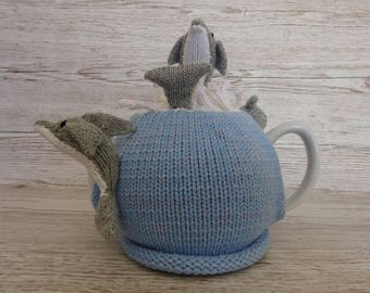Knitted Tea Cosy Cozy Dolphins Emerging from a Splash Shabby Chic
