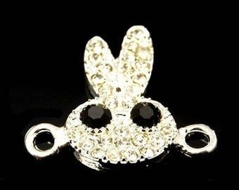 1 Pearl connector rabbit silver and rhinestone 23x21mm