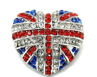 Silver metal Pearl Grey, and rhinestones in the colors of the union Jack