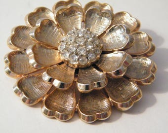 Large Flower Brooch Rhinestone Cluster center, Vintage gold tone metal pin style, 2 inch diameter, classic elegance sparkles, mid century