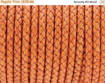 """30% OFF 5mm Round Braided Leather Cord  -   2ft/24"""" - Distressed Orange - Wire Core"""