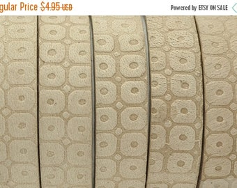 ON SALE 10MM Flat Embossed Leather Cord - Natural - Qty. 1M