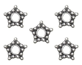 20pc Bali Silver Beads Antiqued, Bali Style Silver Beads, 1.5x8.25mm 2mm hole, 5 point Star Bali Beads - C016P