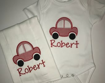 Personalized Baby Transportation Onesie and Diaper Burp Cloth Set