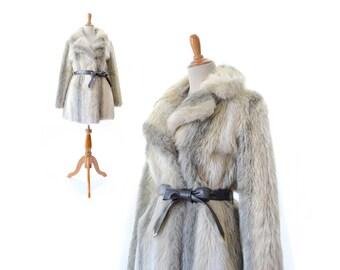 Fur Coat, Womens Fur Coat, Vintage Fur Coat, Faux Medium Fur Coat, Vintage Coat, Boho Coat, Silver Tan Coat