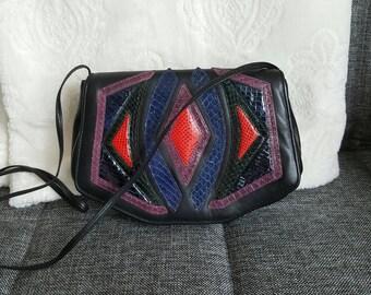 Vintage SHARIF Leather Colorblock Handbag Purse