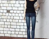 "Stonewashed Jeans for Fashion Royalty, FR2, NuFace, Poppy Parker and other 12"" fashion dolls"