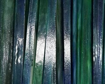 BLUE/GREEN Wissmach Glass Strips for Mosaic work or art project in glass 1.5 Lbs