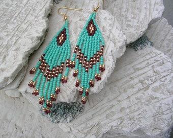 Turquoise fringe earrings.