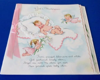 "Vintage HALLMARK ""New Baby"" Card  ""God's Masterpiece"" Booklet Card"
