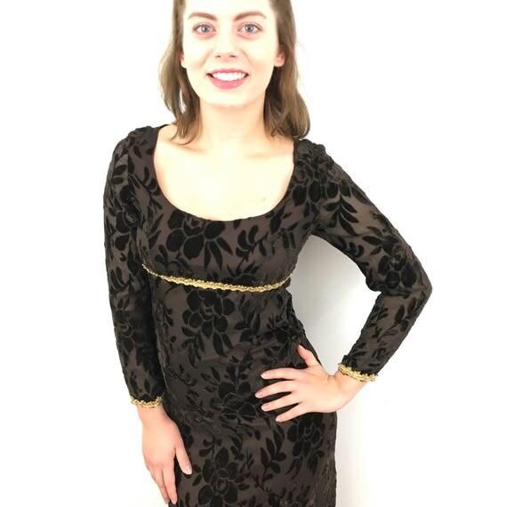Vintage maxi dress babydoll baroque brown burn out velvet chiffon sheer floaty empire line regency 1960s dress UK 8 10 boho festival hippie