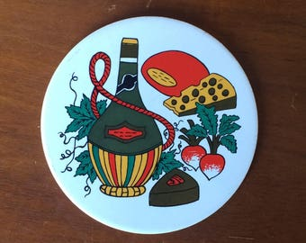 "Retro Decorative ""Wine & Cheese"" Round Tile, 6"""