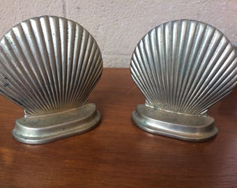 "Vtg Pair of Brass Seashell Bookends, 5"""