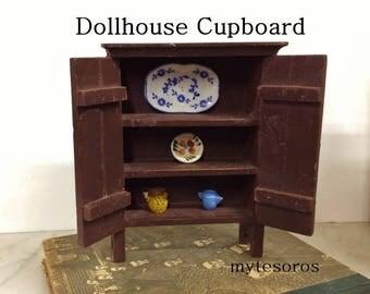 ViNTAGE PrIMITIVE DOLLHOUSE MiNIATURE CUPBOARD PiE SAFE, PrIMITIVE FuRNITURE, Womens Dollhouse CoLLectiBLES MiniATURE mini toy DiSPLAY Shelf