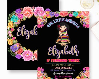 Fiesta Birthday Invitation, Mexican Fiesta Birthday Invitation, First Fiesta Invitations, Bright Floral Fiesta, Senorita Presentation