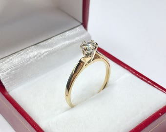 Vintage 0.46CT Engagement Ring l 14KT Yellow Gold Diamond Ring l Engagament Ring l Solitaire Ring