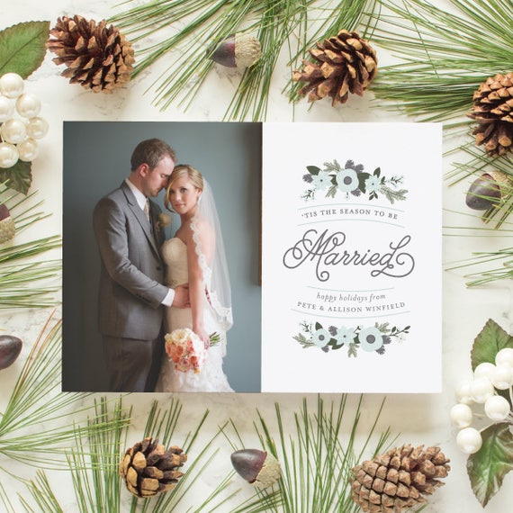 Just Married Holiday Card, First Christmas Card for Newlyweds, Wedding Photo Card Newlywed Holiday Greetings - Be Married