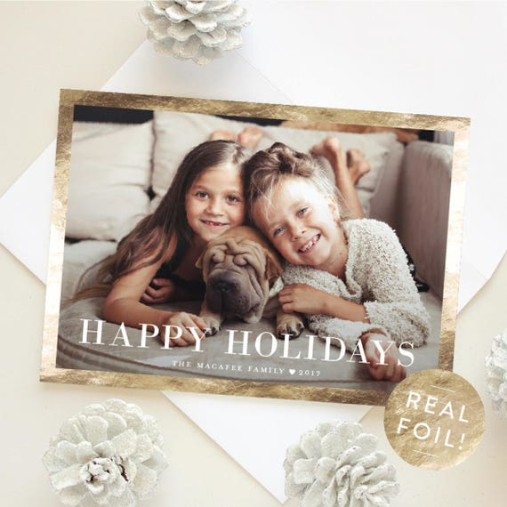 Classic Christmas Cards, Happy Holidays Greeting Card with Gold Foil Border, 5x7 Christmas Card, Personalized Holiday Card | Classic