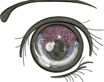 anime eye girl Machine embroidery design / 5 sizes