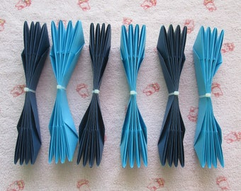Kit DIY of Paper Lotus Flowers, Set of 6 or 12- Blue Colors, only for USD15.00+