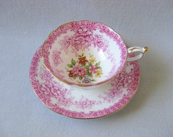 Vintage Paragon China Teacup Cup and Saucer Pink Flowers Floral 1953 1960 Tea Party Bride Shower Wedding Decor England English