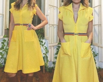 JUNE SALE Vintage 1960's 1970's SUNSHINE Yellow Zip Front Flared Skirt Dress || Ladies Size Xs to S