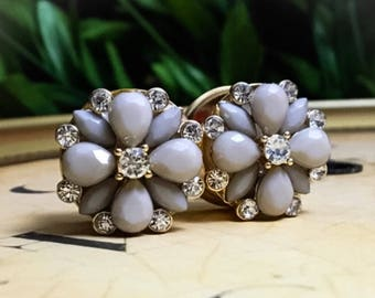 LAST ONE! Gray Faceted Jewel and Rhinestone Flower Plugs, gauges  3/4