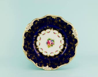 Royal Doulton Bone China Flow Blue Cake Plate Dish Antique English c1910