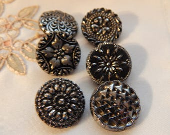 Vintage Silver Luster Black Glass Buttons- 6 Different Designs