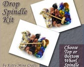 Drop Spindle Kit - Top or Bottom Whorl Spindle - 3oz of Roving - Spinning - Link to Video Tutorial included - Learn to Spin